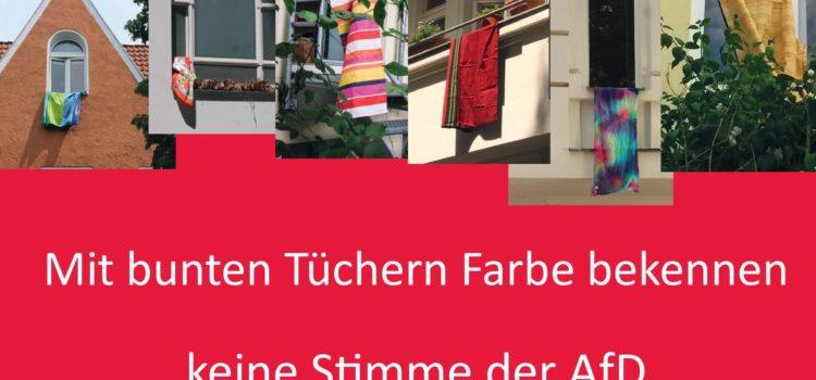 Mit bunten Tüchern Farbe bekennen – keine Stimme der AfD!