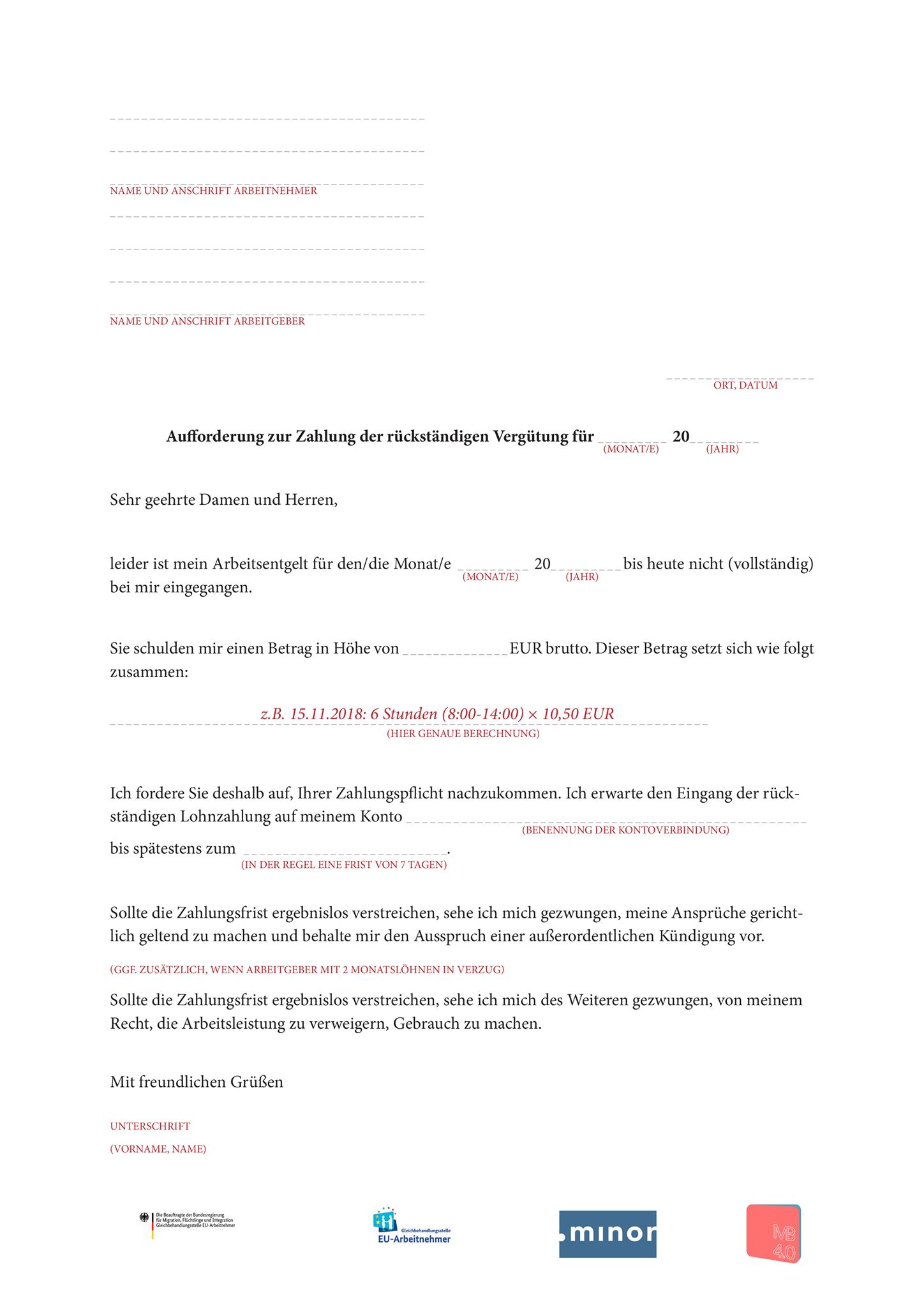 Mustervorlagen Zur Zahlungsanforderung An Den Arbeitgeber Box66